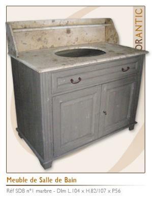 meuble salle de bain brut tagere et plateau marbre 104x56x107cm 1114 - Meuble Ancien Salle De Bain